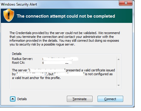 Wireless Certificate authentication error -On all XP and Win 7 computer