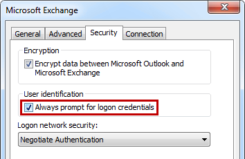 Outlook 2013 asks for credentials connecting to Exchange