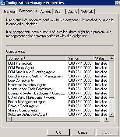 Configuration Manager Properties - Components