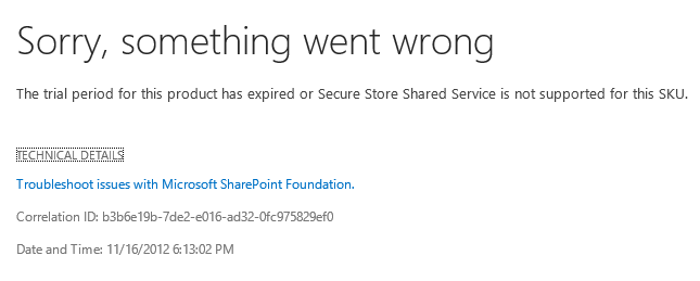 Secure Store Service Error in SharePoint Foundation 2013