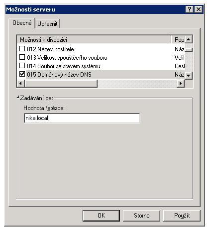 DHCP nastavení
