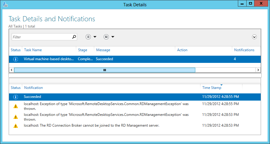 Remote desktop connection broker server could not enumerate the targets