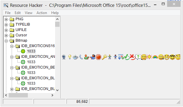 What program file are the emoticons stored in?