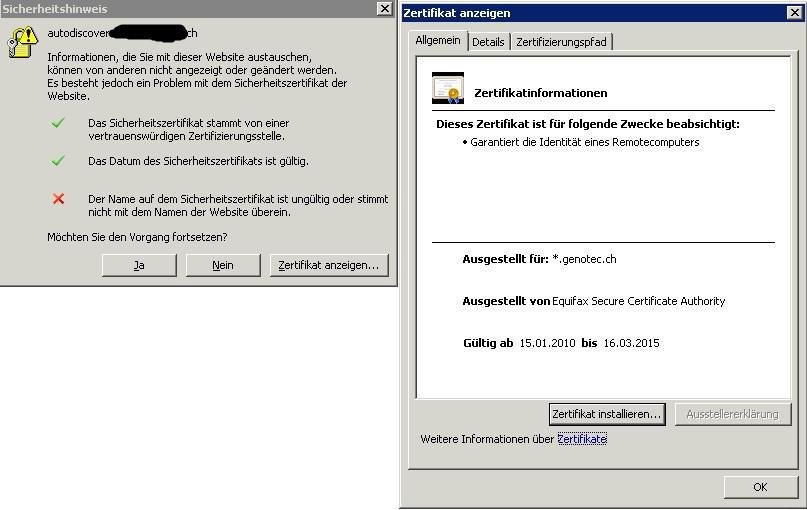 Exchange 2007 Zertifikatsfehlermeldung