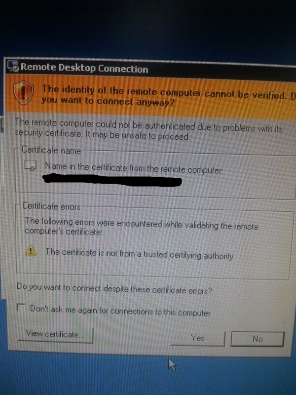 Remote Desktop Connection The Certificate Is Not From A Trusted