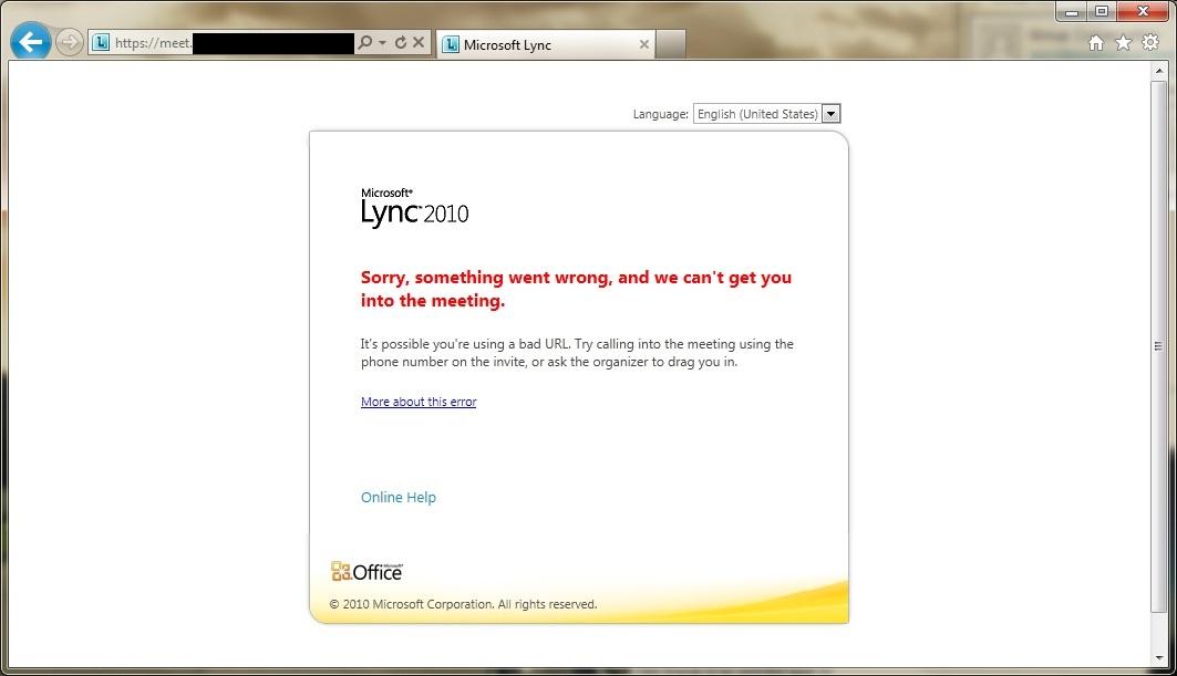 Lync Internal Web Meeting Sorry Something Went Wrong