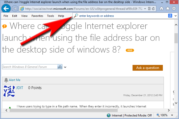Where Can I Toggle Internet Explorer Launch When Using The