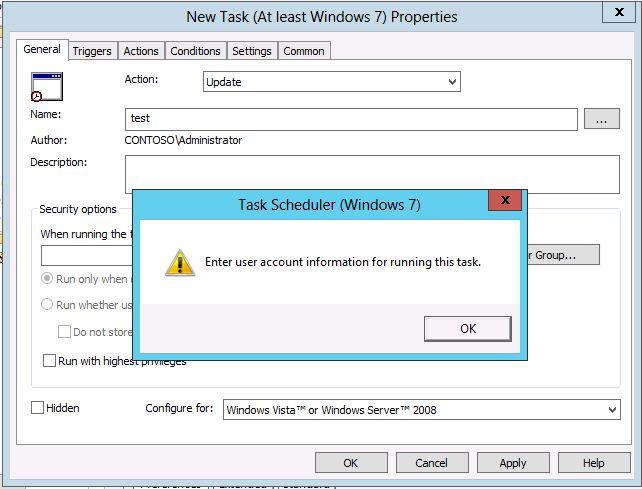 Creating scheduled task via gpo