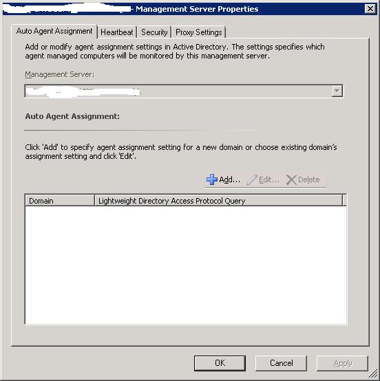Scom proxy server settings