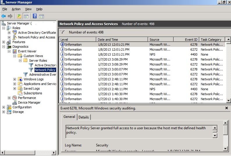 How to check the NPS logs in the Event Viewer
