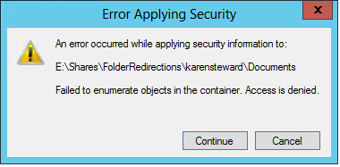 Windows 2012 - Failed to enumerate objects in the container