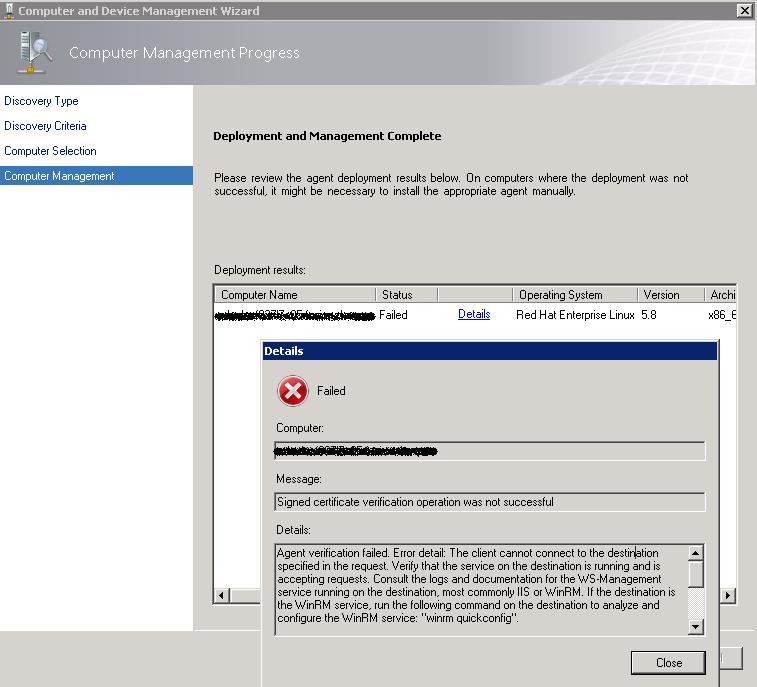Scom 2012 Install Linux Agent Getting Error Signed Certificate