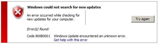 error massage while updating users using WSUS