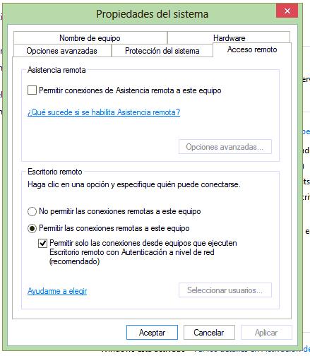 Seleccionar usuarios desactivado en escritorio remoto for Conexion escritorio remoto windows 8