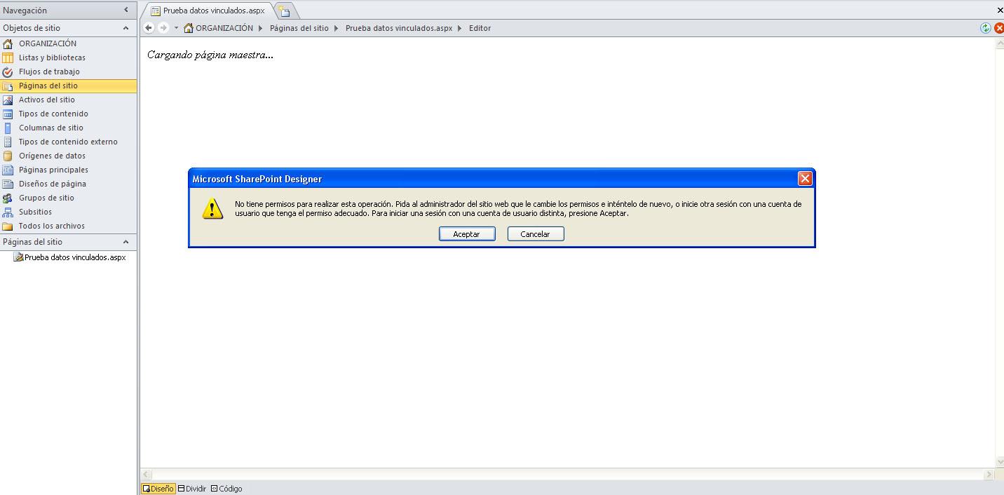 Error al intentar editar pagina en Designer