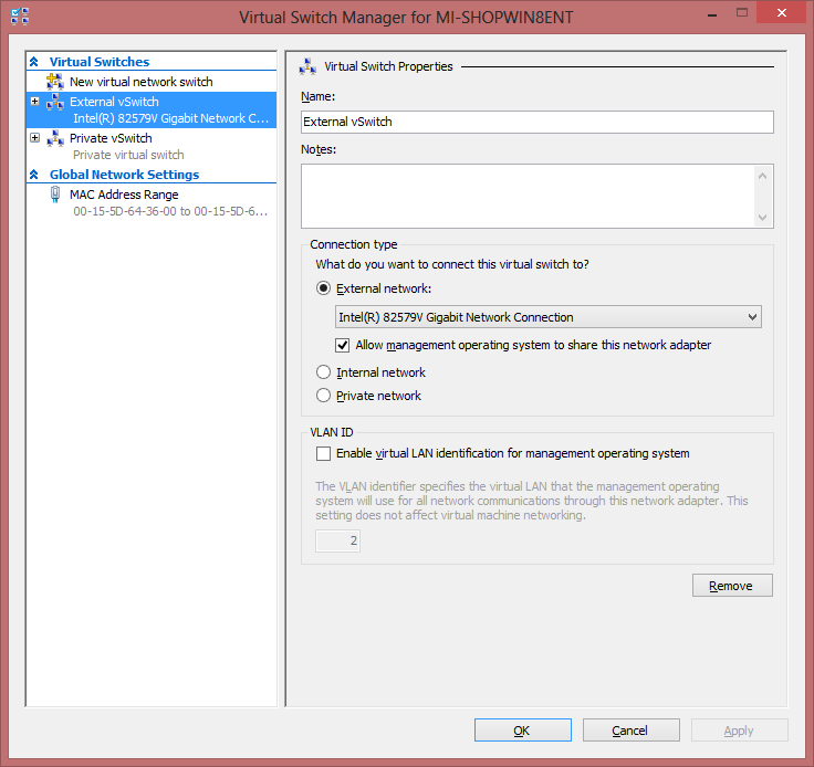 Hyper-V Management vSwitch Settings