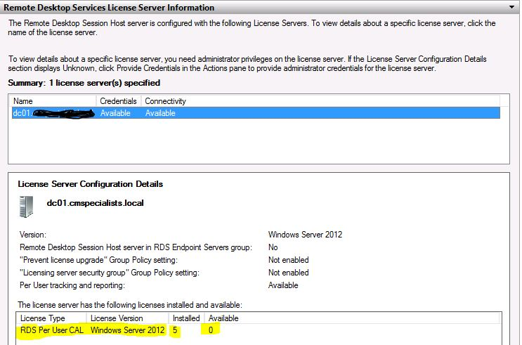 Windows 2012 Server - RDS Licenses not being Issued