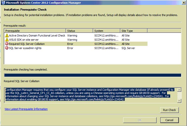 Required SQL Server Collation Error !!