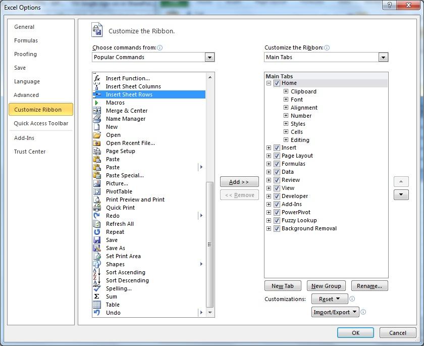 excel 2013 keystroke shortcuts