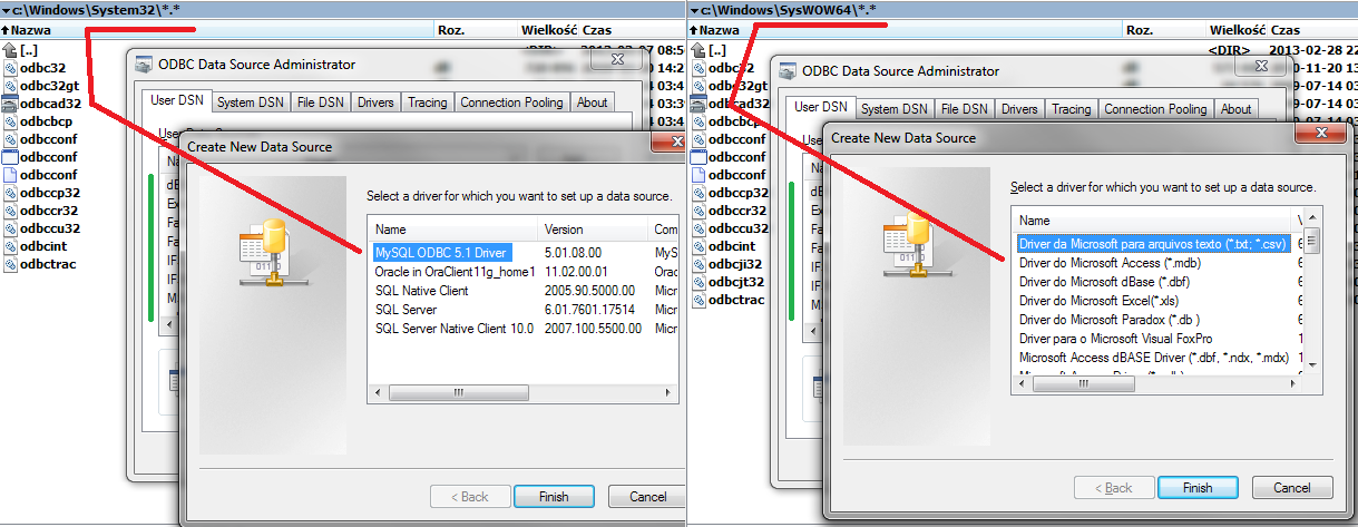 How does ODBC with Excel work under Windows 7 without