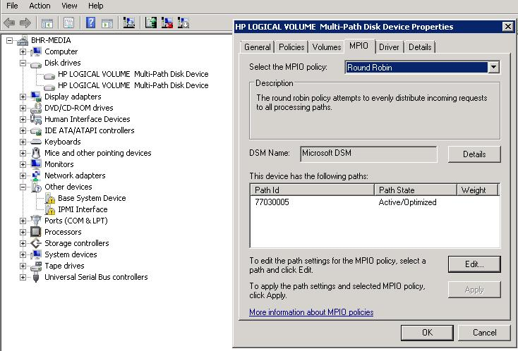 windows server 2008 r2 with HP MSA 2000 FC