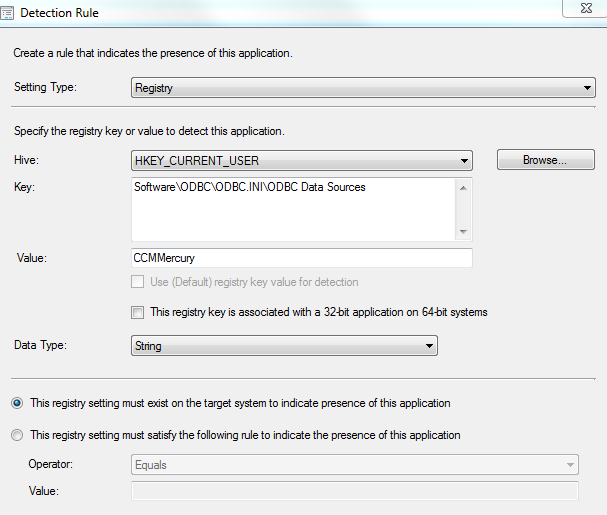 SCCM 2012 Detection Rule with HKCU