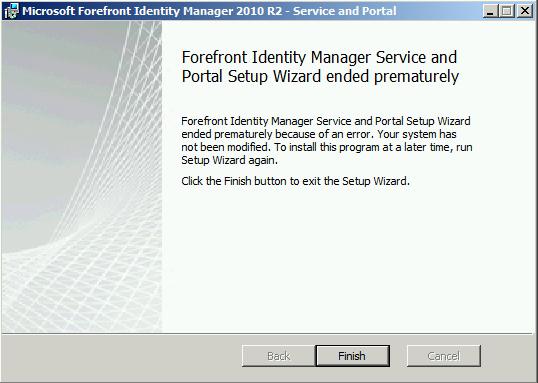 Portal installation failure
