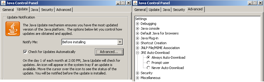 How to force enable updates for Java via group policy: