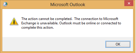 The connection to Microsoft Exchange is unavailable. Outlook must be