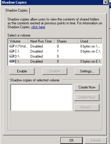 Shadow copy settings on a host which is OK