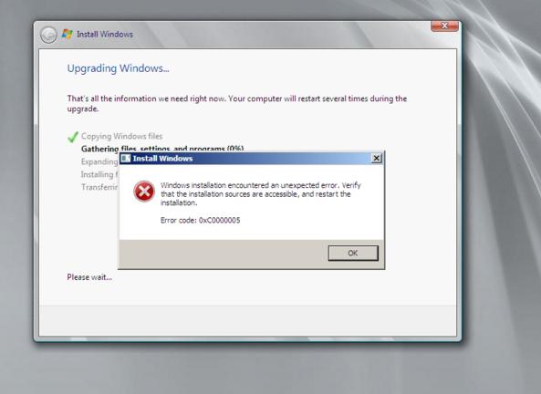 windows 10 update error code 0xc00000fd