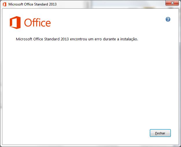 Erro instalação Office