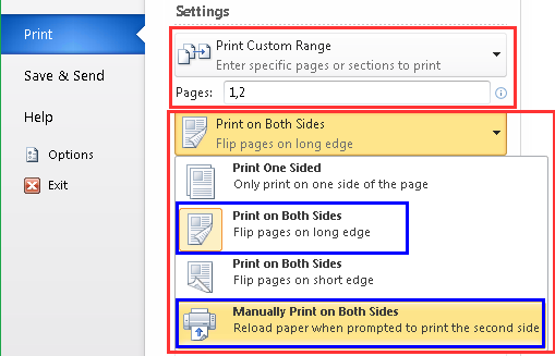 printing double sided pdf flip on long edge