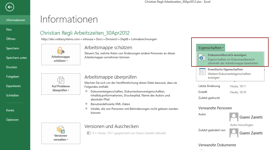 Office 2013 applications crash with Document Information Panel open