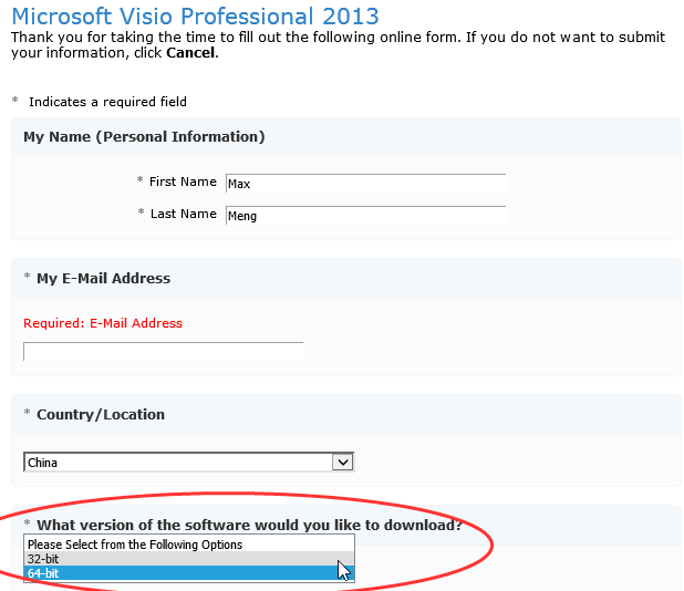 make sure to choose the correct version during the register progress - Visio 2010 Trial Download 32 Bit