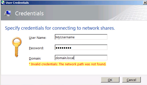 Invalid credentials: The network path was not found