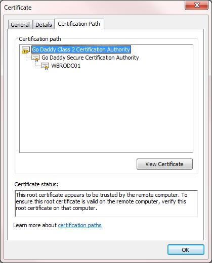 Ldaps certificate problem however the issued to is not coming up with the fqdn but just the hostname of the rodc not sure if this makes a difference and the certificate path tab yadclub Images