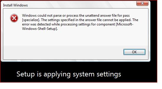 Error: windows 7 32bit  Windows could not parse or process