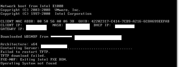 server 2012 WDS - TFTP pxe-m0f exiting intel pxe rom