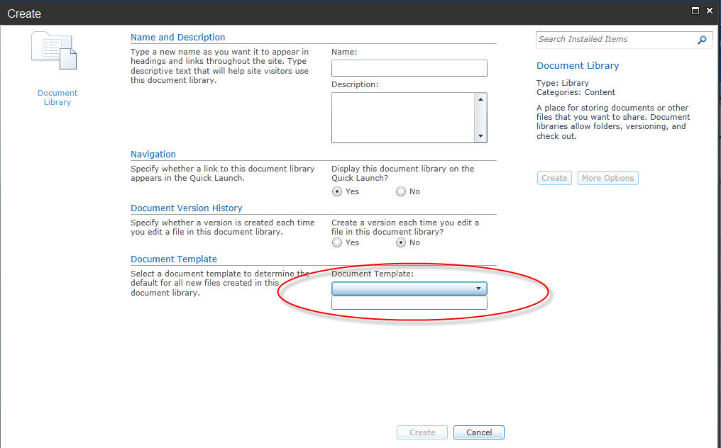 Create new document library on SharePoint 2010, the Document ...