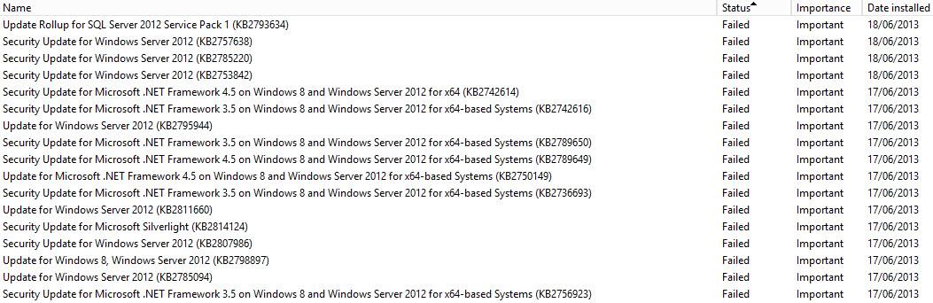Failed Windows Updates