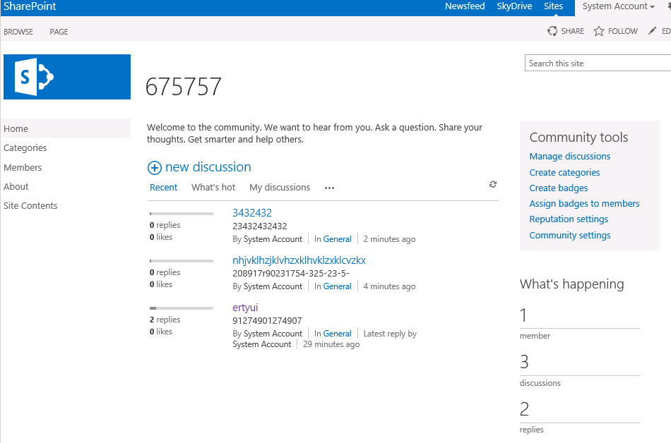 sharepoint 2013 discussion board