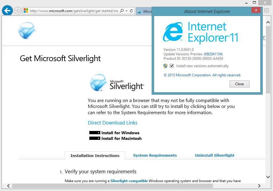 Silverlight on IE11