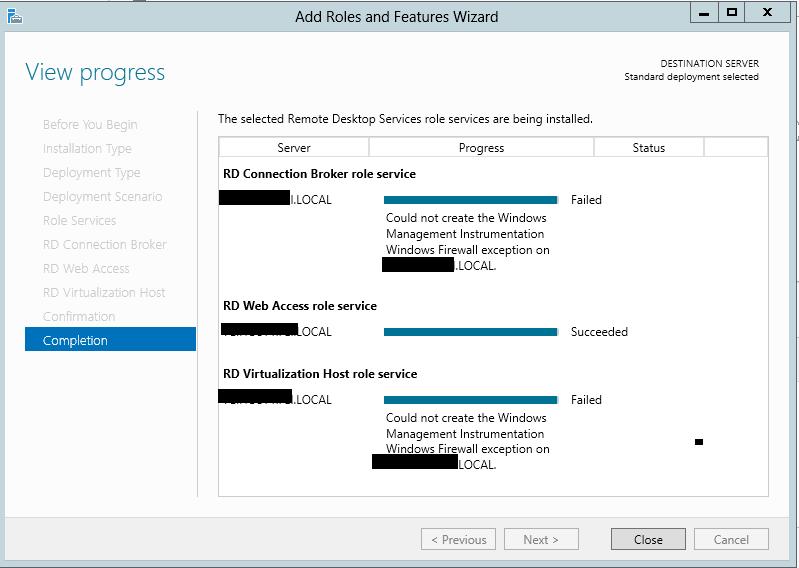 Event 4119 RD Virtualization Host Configuration Failed on