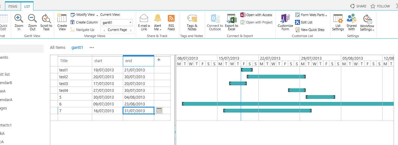 Sharepoint 2013 List Views Gantt Not Aligning
