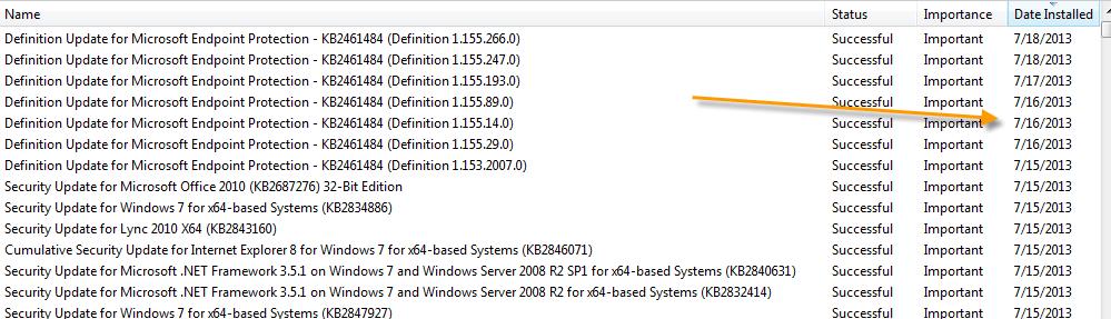 Updates were installed: Date different