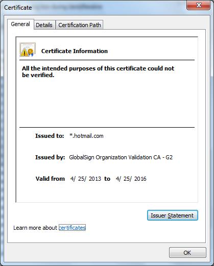 Outlook 2007 certificate error