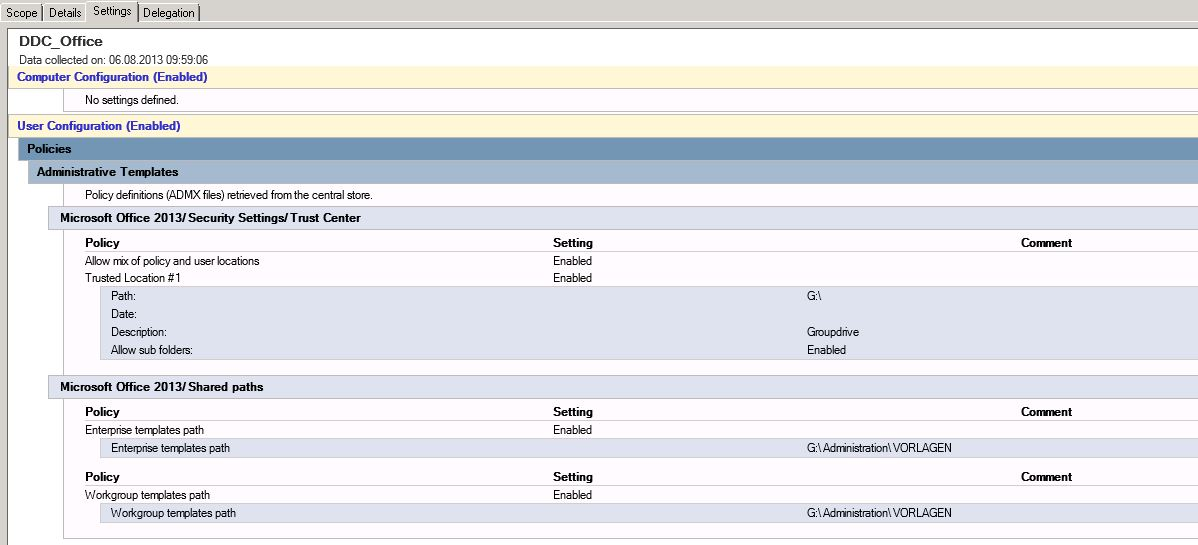 Office 2013: GPO für Unternehmensvorlagen bewirkt nichts