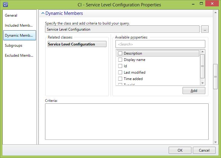 Service Level Configuration Group