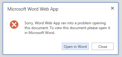 Word Web App Error